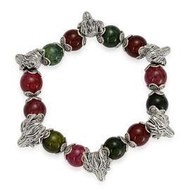 Multi Agate Wolf Bracelet in Silver Tone (Size 7.5) 10.000 Ct.