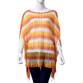 Lace Pattern Orange and White Colour Poncho with Tassels (Size 90x55 Cm)