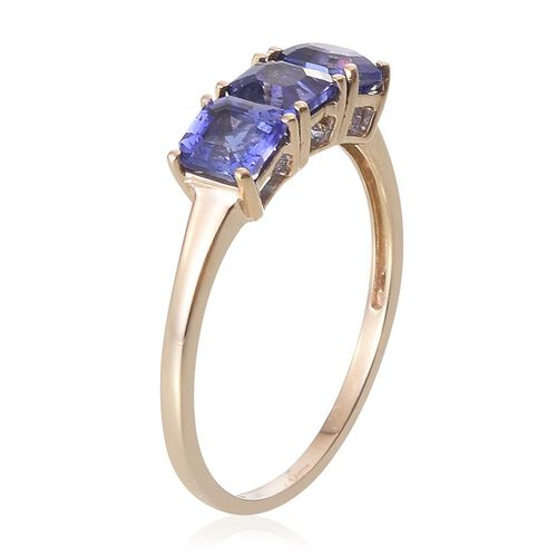 9K Y Gold Asscher Cut Tanzanite (Oct) Trilogy Ring 2.000 Ct.