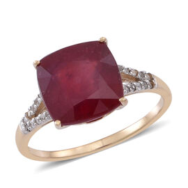 9K Y Gold AAA African Ruby (Cush 5.90 Ct), Natural White Zircon Ring 6.000 Ct.