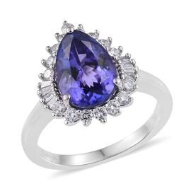ILIANA 18K White Gold 3.75 Carat AAA Tanzanite Pear, Diamond SI G-H Ring.