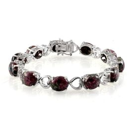 Natural Russian Eudialyte (Ovl) Bracelet in Platinum Overlay Sterling Silver (Size 8) 31.250 Ct.