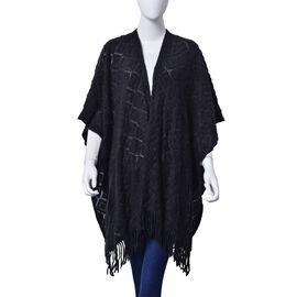 Checks Pattern Black Colour Kimono with Tassels (Size 95x75 Cm)
