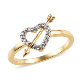 Diamond (Rnd) Heart With Arrow Ring in 14K Gold Overlay Sterling Silver