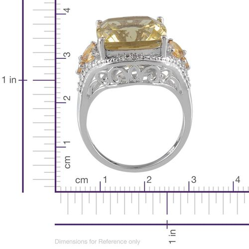 Brazilian Green Gold Quartz (Cush 10.75 Ct), Citrine and Diamond Ring in Platinum Overlay Sterling Silver 11.070 Ct.