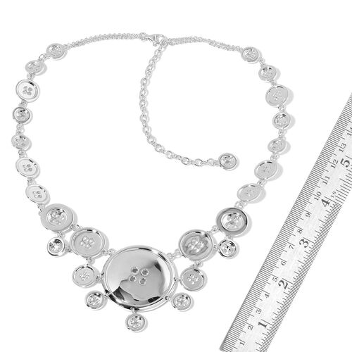 LucyQ Button Necklace (Size 16.5 with 4 inch Extender) in Rhodium Plated Sterling Silver 69.00 Gms.