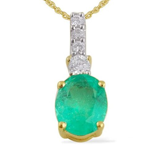 14K Y Gold Boyaca Colombian Emerald (Ovl 0.50 Ct) and Diamond Pendant With Chain 0.600 Ct.
