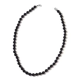 High Lustre Boi Ploi Black Spinel Beaded Necklace (Size 20) in Rhodium Plated Sterling Silver 275.000 Ct.