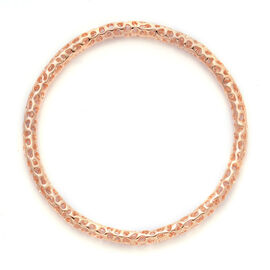 RACHEL GALLEY Rose Gold Overlay Sterling Silver Allegro Bangle (Size 8.25 / Large), Silver wt 16.90 Gms.