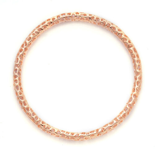 RACHEL GALLEY Rose Gold Overlay Sterling Silver Allegro Bangle (Size 8.25), Silver wt 16.90 Gms.