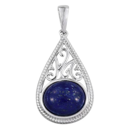 Lapis Lazuli (Ovl) Solitaire Pendant in Platinum Overlay Sterling Silver 5.250 Ct.