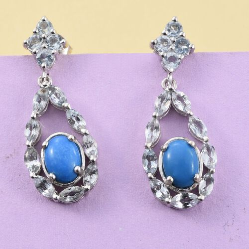 Ceruleite (Ovl), Espirito Santo Aquamarine Earrings (with Push Back) in Platinum Overlay Sterling Silver 2.000 Ct.