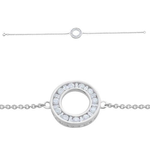 9K W Gold SGL Certified Diamond (Rnd) (I3/ G-H) Circle Bracelet (Size 7.5) 0.500 Ct.