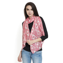 Pink and Multi Colour Printed Scarf (Size 180x55 Cm)