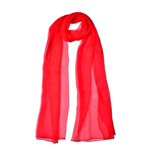 100% Mulberry Silk Red Colour Scarf (Size 170X60 Cm)