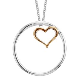 Designer Inspired-Platinum and Yellow Gold Overlay Sterling Silver Heart Circle Pendant With Chain