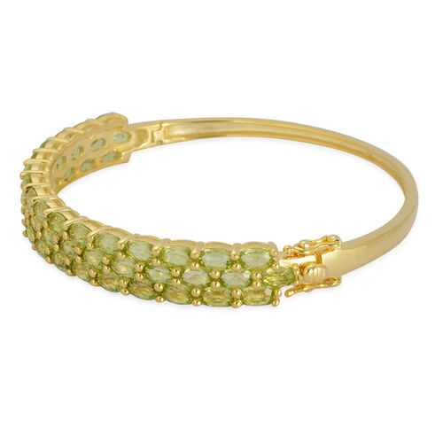 AA Hebei Peridot (Ovl) Bangle in Yellow Gold Overlay Sterling Silver (Size 7.5) 11.750 Ct.