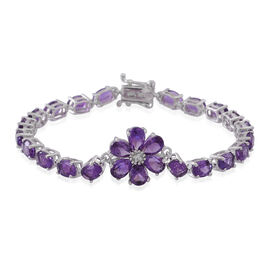 Natural Uruguay Amethyst (Ovl), Natural Cambodian White Zircon Floral Bracelet (Size 7) in Rhodium Plated Sterling Silver 12.500 Ct.