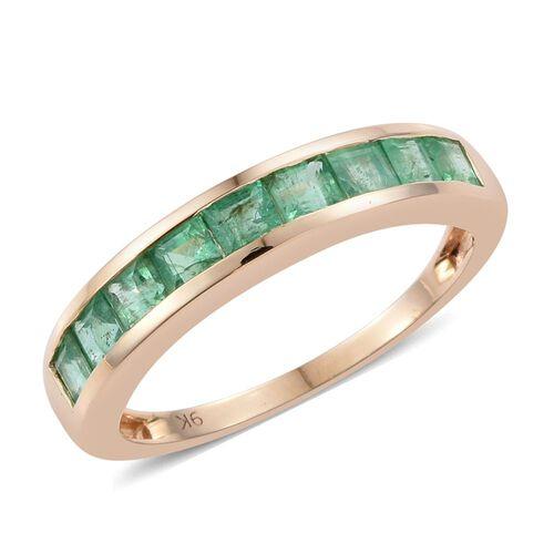9K Y Gold Kagem Zambian Emerald (Sqr) Half Eternity Band Ring 1.250 Ct.