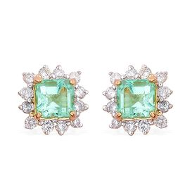 14K Y Gold Boyaca Colombian Emerald (Oct), Diamond Stud Earrings (with Push Back) 1.650 Ct.