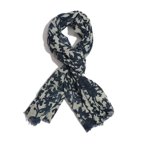 50% Cotton and 50% Wool and Dark and Light Blue Colour Woven Flower and Leaf Pattern Scarf (Size 175x75 Cm)