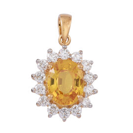 ILIANA 18K Y Gold AAA Yellow Sapphire (Ovl 2.50 Ct), Diamond (SI/G-H) Pendant 3.000 Ct.