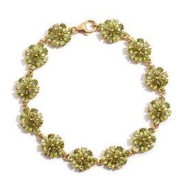 AA Hebei Peridot (Pear) Bracelet in 14K Gold Overlay Sterling Silver (Size 7.5) 14.250 Ct.