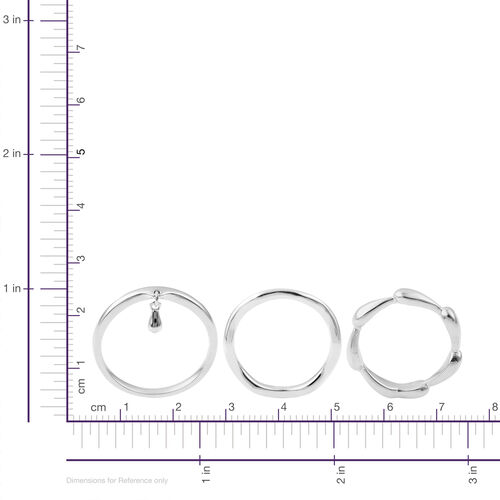 Set of 3 - LucyQ Single Drip and Continual Drip Ring in Rhodium Plated Sterling Silver 7.18 Gms.