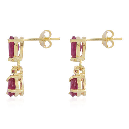 African Ruby (Pear), Burmese Ruby Earrings (with Push Back) in 14K Gold Overlay Sterling Silver 3.900 Ct.