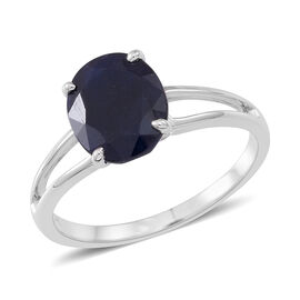9K W Gold AA Madagascar Blue Sapphire (Ovl) Solitaire Ring 3.500 Ct.