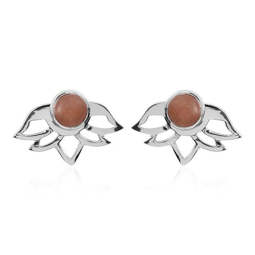 Morogoro Peach Sunstone (Rnd) Earrings (with Push Back) in Platinum Overlay Sterling Silver 4.250 Ct.