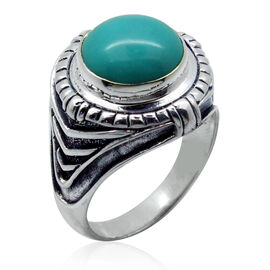 Royal Bali Collection Arizona Sleeping Beauty Turquoise (Rnd) Solitaire Ring in Sterling Silver 7.230 Ct.