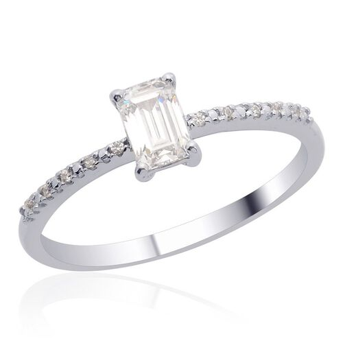 J Francis - Platinum Overlay Sterling Silver (Oct) Ring Made with SWAROVSKI ZIRCONIA 0.720 Ct.