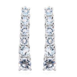Espirito Santo Aquamarine 1.44 Ct Silver Climber Earrings in Platinum Overlay