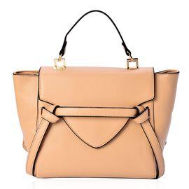 (Option 2) Beige Colour Top Handle Bag with Adjustable and Removable Shoulder Strap (Size 35x25x10 Cm)
