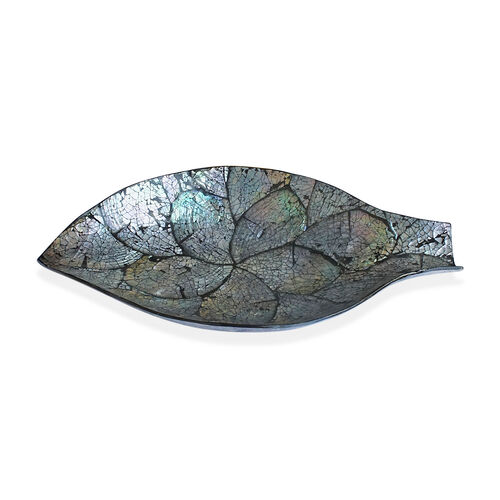 (Option 4) Leaf Shape Bowl Shell Inlay in Black Resin (Size 34x19 Cm)