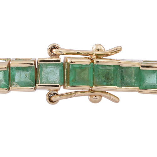ONE OFF DEAL - Limited Edition 9K Y Gold AAA Princess Cut Kagem Zambian Emerald Tennis Bracelet (Size 7.5) 10.000 Ct. 9.5 Grams of 9k Gold