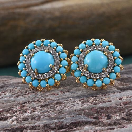 Arizona Sleeping Beauty Turquoise (Rnd), Natural Cambodian Zircon Stud Earrings (with Push Back) in 14K Gold Overlay Sterling Silver 4.500 Ct.