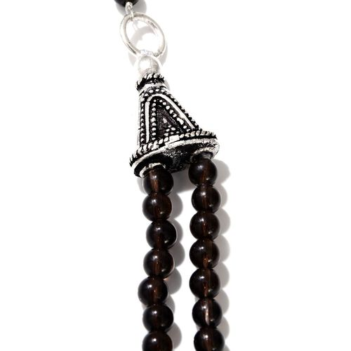 Brazilian Smoky Quartz Necklace (Size 20) in Silver Tone 52.680 Ct.