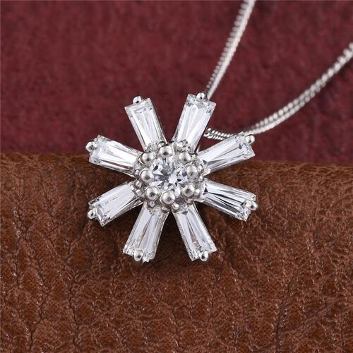 J Francis - Platinum Overlay Sterling Silver (Rnd) Floral Pendant With Chain Made with SWAROVSKI ZIRCONIA