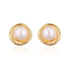 Japanese Akoya Pearl (Rnd 5-6mm) Stud Earrings (with Push Back) in Yellow Gold Overlay Sterling Silver