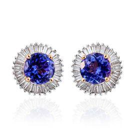 9K Y Gold Tanzanite (Rnd), Diamond Stud Earrings (with Push Back) 2.500 Ct.