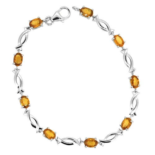 AAA Yellow Sapphire (Ovl) Bracelet (Size 8) in Rhodium Plated Sterling Silver 6.250 Ct.