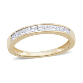 9K Y Gold SGL Certified Diamond (Sqr) (I3/G-H) Half Eternity Band Ring 0.500 Ct.