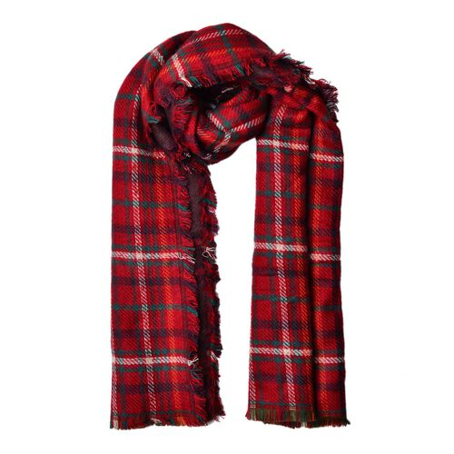 Red and Multi Colour Plaid Pattern Scarf with Fringes (Size 180x80 Cm)