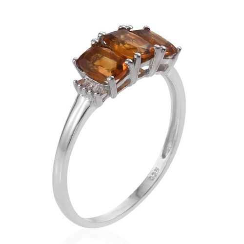 Citrine (Cush), Diamond Ring in Platinum Overlay Sterling Silver 1.800 Ct.
