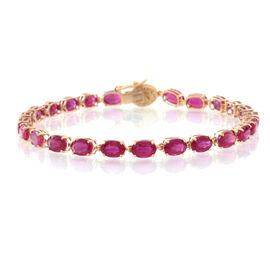 9K Y Gold AAA African Ruby (Ovl), Diamond Bracelet (Size 7.5) 16.000 Ct.