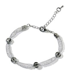 AAA White Austrian Crystal Station Bracelet (Size 7.5 with 1.5 inch Extender) in Black Tone