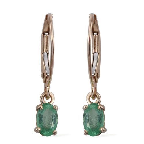 9K Y Gold Boyaca Colombian Emerald (Ovl) Lever Back Earrings 1.000 Ct.