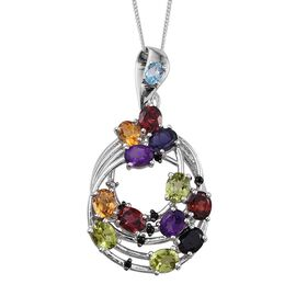 Stefy Hebei Peridot (Ovl), Mozambique Garnet, Citrine, Iolite, Boi Ploi Black Spinel, Amethyst, Electric Swiss Blue Topaz, Pink Sapphire Pendant With Chain in Platinum Overlay Sterling Silver 4.00 Ct.